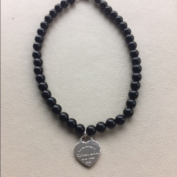 c8306edc487f27 Tiffany & Co. Jewelry | Tiffany Co Black Onyx Bracelet W Heart Charm ...